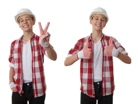 posing  agree: Set of cute teenager boy in red checkered shirt and building helmet showing victory sign over white isolated background, half body, constructing concept