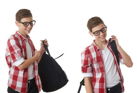 poor eyesight: Set of cute teenager boy in red checkered shirt and glasses putting school bag on over white isolated background, half body, as school, education concept