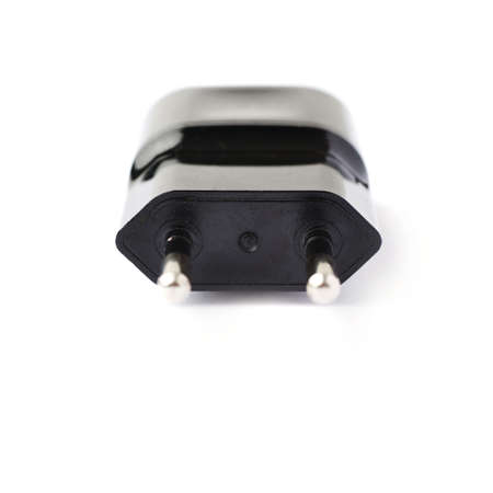 adapter: Black usb adapter charger isolated over the white background