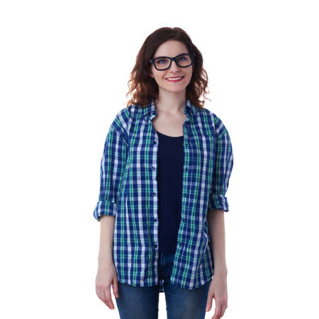 poor eyesight: Smiling young woman in casual clothes and glasses over white isolated background, happy people concept