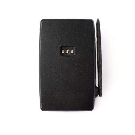 gatillo: Black wireless flash trigger isolate over white background