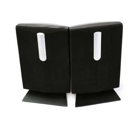 two party system: Pair of black glossy sound speakers isolated over the white background Stock Photo