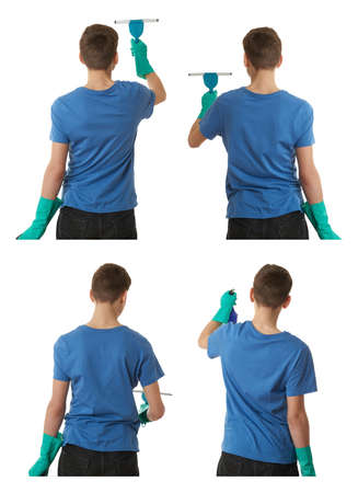 Cute teenager boy in blue T-shirt and green rubber gloves with window cleaning squeegee tool over white isolated background from back, half body, cleaning concept