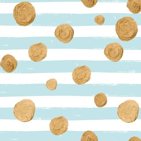 Vector seamless pattern with gold glittering falling confetti on hand drawn striped background. Allover print with streamers, tinsels and golden dust. Illustration