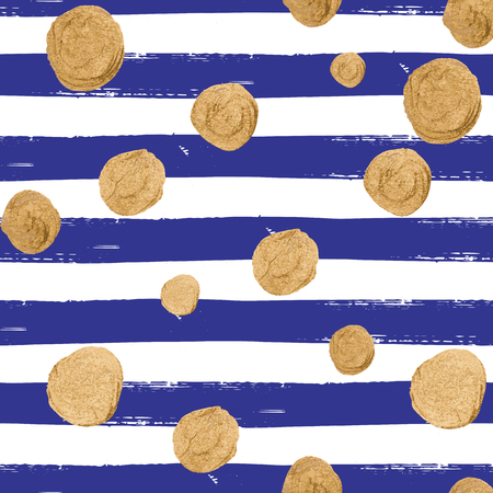 allover: Vector seamless pattern with gold glittering falling confetti on hand drawn striped background. Allover print with streamers, tinsels and golden dust. Illustration