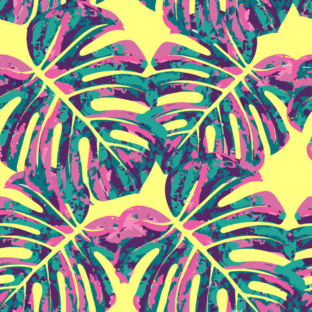 seamlessly: Vector seamless pattern with monstera leaves. Monochrome tropical background with hawaiian palm print. Illustration