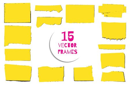 teared: Set of 15 vector silhouettes of torn paper pages. Stickers. Grunge borders. Reminder background. Messy textures. Illustration