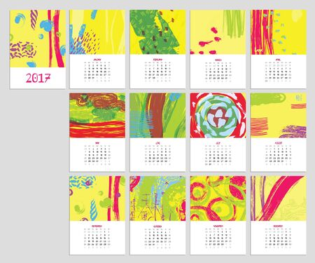 numbers background: Calendar 2017 with hand drawn textures. Unique design for each month. Vector planner with geometric figures: stripes, triangles, circles, dots, flowers and leaves. Illustration