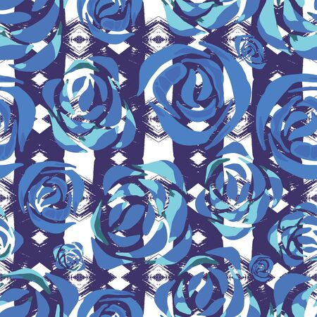 rose: Vector tribal floral print. Ethnic background with roses. Tropical wallpaper with flowers and aztec stripes.