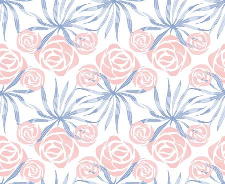 Vector exotisch boeketpatroon. Naadloze print met tropische bloemen, palmbladeren. Bloemen loof eindeloze afdrukken.