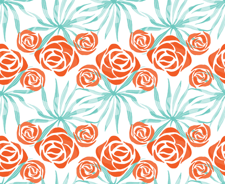 Vector exotic bouquet pattern. Seamless print with tropical flowers, palm leaves. Floral foliage endless print.