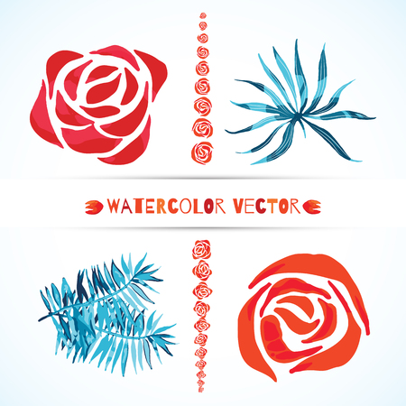 Abstract set of watercolor vector palm leaves and rose flowers Isolated on white, Colorful watercolour tropical illustration, Elements for logo design.