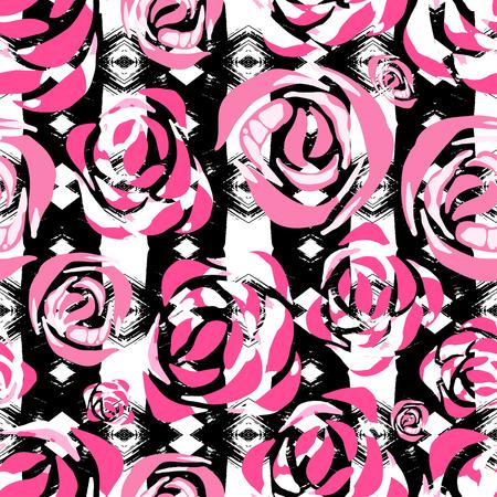 部族の花の印刷の民族的背景バラ熱帯壁紙花とアステカのストライプ、花柄のデザイン、水彩ハワイアン テクスチャでシームレスなパターンをベク