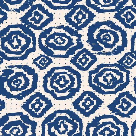 oriental rug: Vector tie dye seamless pattern. Hand drawn shibori print. Ink textured japanese background. Modern batic wallpaper tile. Watercolor indigo endless backdrop.