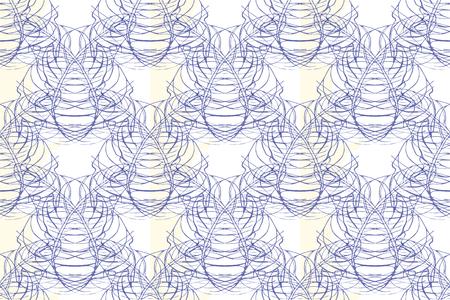 Modern seamless pattern. Damask Tile. Floral Indigo Print. Monochrome Geometry Ornament. Vector Leaf Backdrop. Illustration