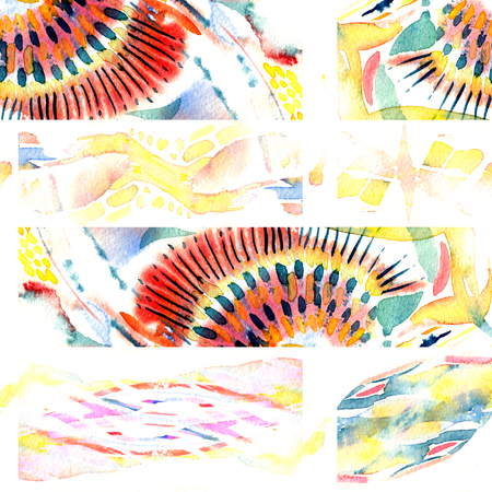Watercolor seamless patchwork pattern. Artistic abstract endless saturated ethnic tile. Hand drawn texture. Swimwear multicolored endless print.