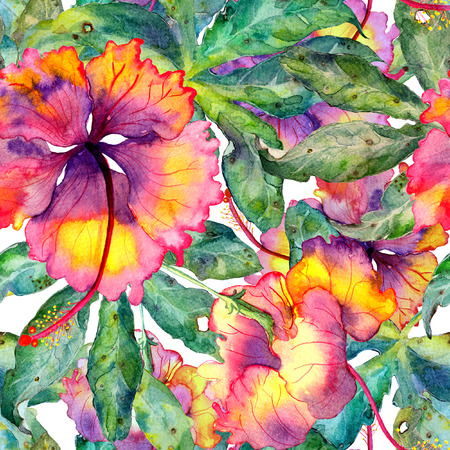 allover: Hand drawn seamless watercolor exotic pattern with passiflora leaves and hibiscus flowers. Floral botanic unique illustration with tropical plants. Hawaiian allover print. Stock Photo