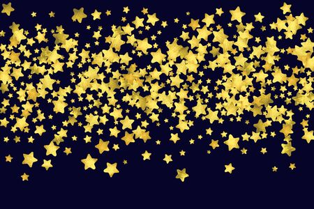Star confetti isolated on black background. Celebration card template with watercolor flying gold elements. Christmas party invitation mock up.