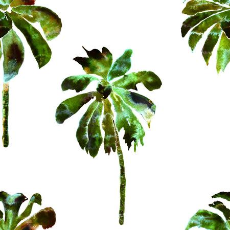 Tropisches Palmenmuster. Exotischer hawaiischer geometrischer Bananenbaumdruck. Miami Strandbadebekleidung. Nahtloser Druck mit Thailand-Flora. Aloha Hintergrund. Urlaub endlose Lei Rapport mit Brasilien Dschungel. Standard-Bild - 88838102