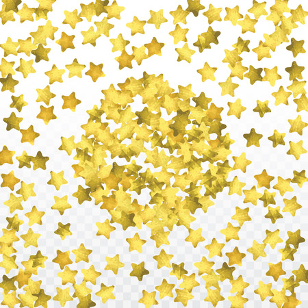 Star confetti isolated on transparent background. Falling magic particles. Celebration card template with watercolor gold gouache elements.