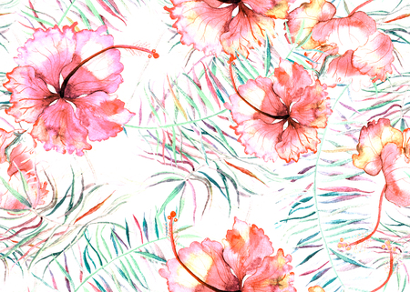 Hibiscus pattern. Watercolor tropical background. Exotic seamless pattern with hibiscus flowers and palm leaves.
