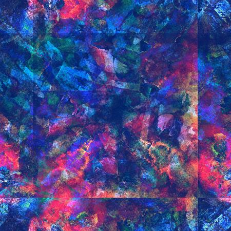 Tie dye watercolor seamless pattern. Geometric watercolour background with square tiles. Artistic shibori wallpaper.