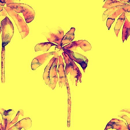 miami: Tropic palm pattern. Exotic hawaiian geometric banana tree print.