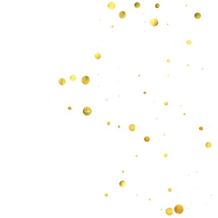 Falling confetti. Vector golden circles isolated on white background. New Year celebration card template. Bright christmas background. Explosion backdrop. Wedding anniversary wallpaper. Surprise print Illustration