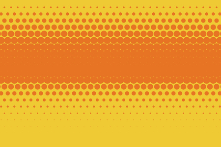 Halftone background. Comic background. Vector retro dotted template for labels. Yellow and orange geometric gradient for pop art designs. Vintage backdrop with isolated pattern for cartoon book. Illustration