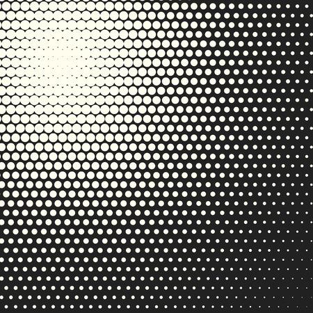 Halftone dots. Vector black and white circles halftone background. Geometric vintage monochrome fade wallpaper. MInimal abstract graphic backdrop. Pop art print. Dotted geometric retro pattern. Ilustração