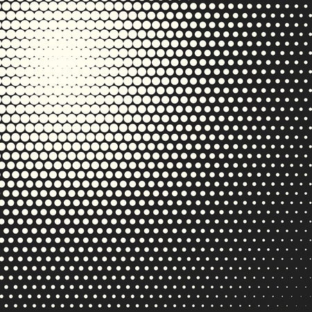 Halftone dots. Vector black and white circles halftone background. Geometric vintage monochrome fade wallpaper. MInimal abstract graphic backdrop. Pop art print. Dotted geometric retro pattern. Illustration