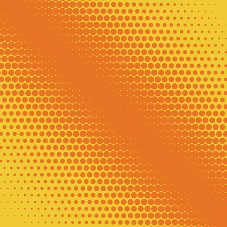 Halftone background. Comic background. Vector retro dotted template for labels. Yellow and orange geometric gradient for pop art designs.