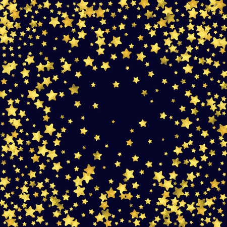 Star confetti isolated on black background. Falling magic particles. Celebration card template with watercolor flying gold elements. Christmas party invitation mock up. Starry explosion backdrop. Illustration
