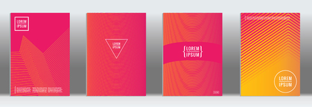 Minimal cover. Vector pink geometric abstract line pattern for poster design. Set of minimal covers for business brochures. 2d prints for banner background. Graphic pattern for annual album backdrop.