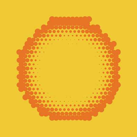 Halftone label background. Comic background. Vector retro dotted template for labels. Yellow and orange geometric gradient for pop art designs. Vintage backdrop with isolated pattern for cartoon book. Illustration