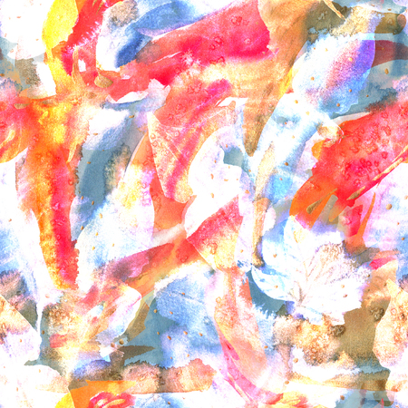 Floral tie dye seamless pattern. Watercolor ethnic endless rapport. 스톡 콘텐츠