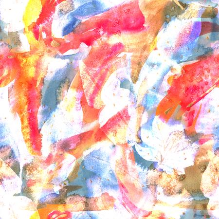 Floral tie dye seamless pattern. Watercolor ethnic endless rapport. Banco de Imagens