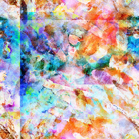 Square watercolor pattern. Wet watercolor abstract print with geometry lines. Hand drawn texture with random splashes, blotches, brushstrokes. Stock Photo