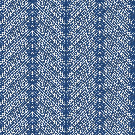 Tie dye triangle geometric seamless pattern. Geometric print texture. Organic Watercolor natural tiles. Striped folk Japanese cotton background. Indigo Swimwear shibori fabric. Ilustração