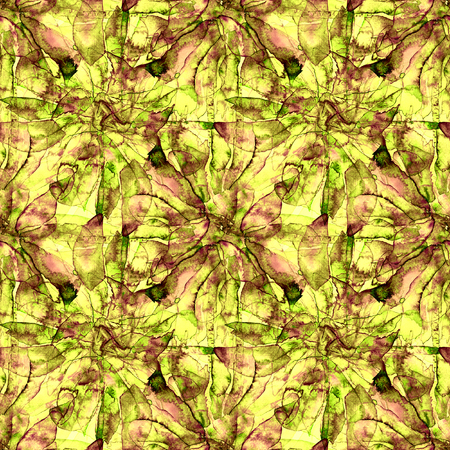 Patchwork Watercolor Seamless Pattern. Retro Boho Watercolour Wallpaper With Abstract Graphic Design. Modern Ethnic Geometric Patchwork Seamless Pattern. Batik Boho Tile for Summer Swimwear Design.