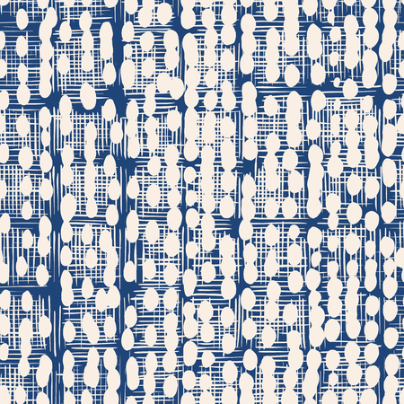 Indigo vector tie dye seamless pattern. Abstract watercolor. Natural tiles. Organic texture.Watercolour print. Japan folk pattern. Organic textile. Japanese seamless natural texture. Indigo batik.  Ilustração
