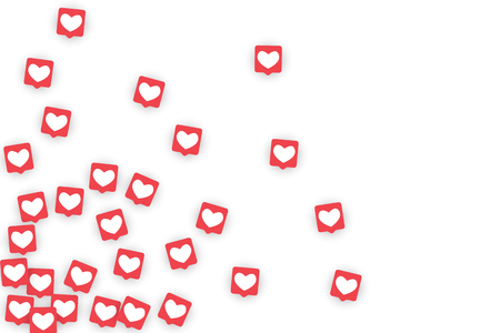 Social Media Icons. Network Notifications with White Heart in Pink Square. Follow and Share Social Media Icons Background for App, Application, Marketing, Smm, Ceo, Web, Internet, Analytics, Business. 일러스트