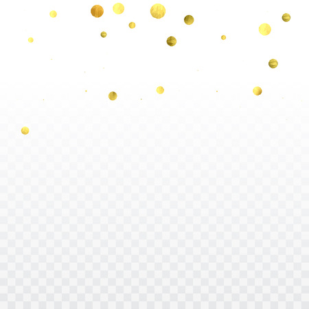 Gold confetti celebration. Birthday party invitation background. Vector festive christmas greeting card backdrop. Wedding invitation template.
