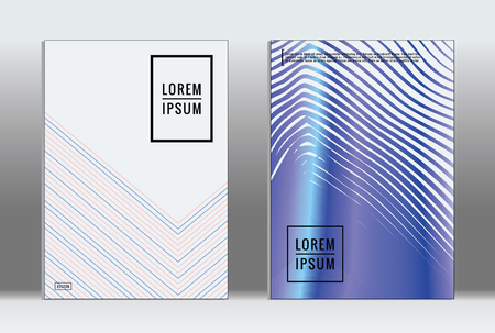 Vector graphic geometric covers with minimalist pattern for templates, layouts, posters, brochures, catalogs, flyers. Set of placards with minimalist geometry elements design template with lines.