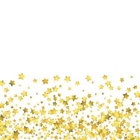 Star confetti. Gold random confetti background. Bright design template. Vector white and yellow cover template. Birthday or wedding invitation template. Abstract card for gifts. 2018 new year greeting