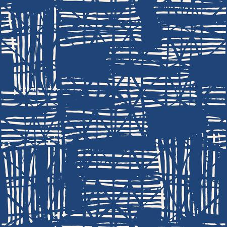 Endless watercolor texture vector. Indigo tie dye seamless pattern. Natural tiles. Japan cotton background. Batik bed vector texture.