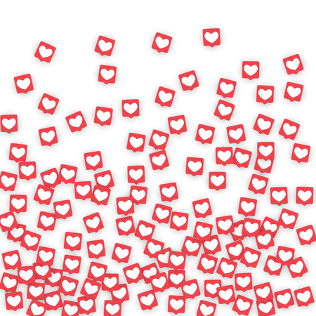 Social Media Icons. Network Notifications with White Heart in Pink Square. Follow and Share Social Media Icons Background for App, Application, Marketing, Smm, Ceo, Web, Internet, Analytics, Business. Ilustrace
