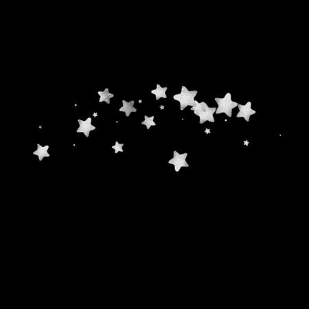 Silver star confetti. Falling starry anniversary background. Grey and black vector Christmas card. Random silver stars on black background. Dark sky with white shiny watercolor stars. Flying confetti.