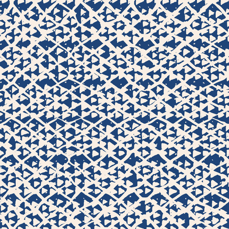Endless watercolor texture vector. Indigo tie dye seamless pattern. Natural tiles. Japan cotton background. Batik bed vector texture. China hand dyeing white cotton background. Hippie fabric with grid Illustration