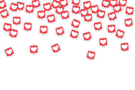 Social Media Icons. Network Notifications with White Heart in Pink Square. Follow and Share Social Media Icons Background for App, Application, Marketing, Web, Internet, Analytics, Business.